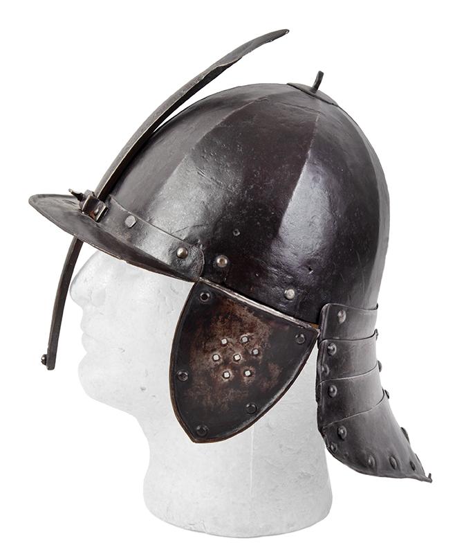 17th Century Helmet, Burgonet, Steel, Lobster Tail, Earflaps, Visor & Face Strip, entire view 3