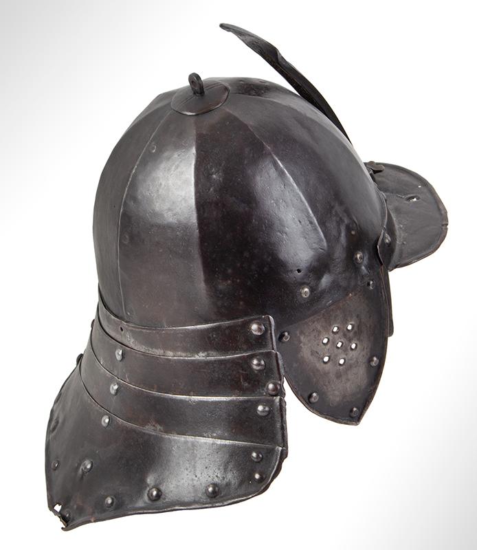 17th Century Helmet, Burgonet, Steel, Lobster Tail, Earflaps, Visor & Face Strip, entire view 4