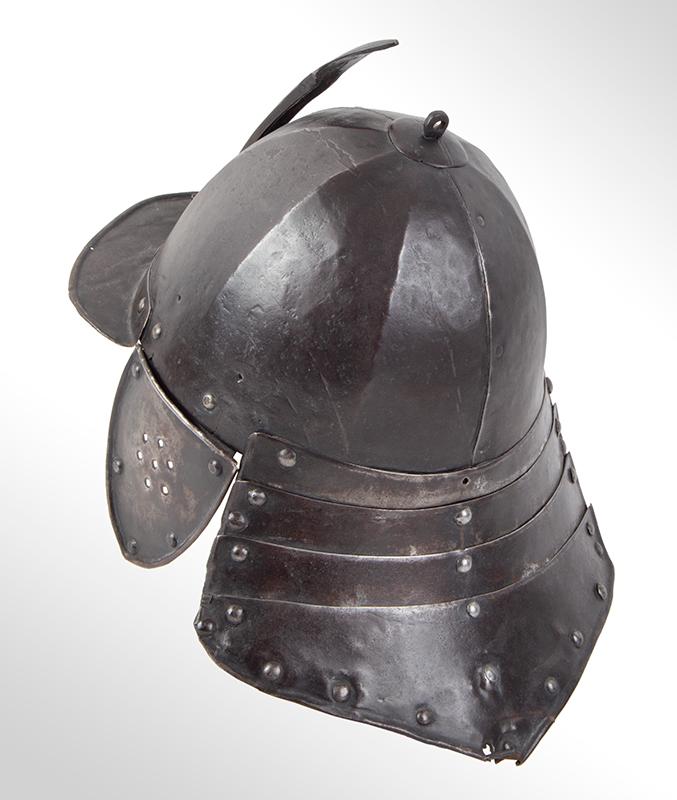 17th Century Helmet, Burgonet, Steel, Lobster Tail, Earflaps, Visor & Face Strip, entire view 5