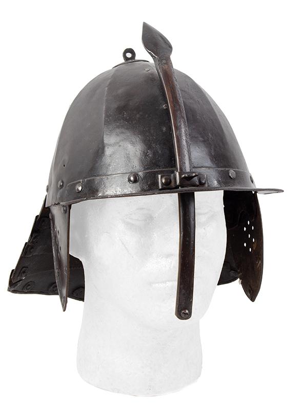 17th Century Helmet, Burgonet, Steel, Lobster Tail, Earflaps, Visor & Face Strip, entire view 6