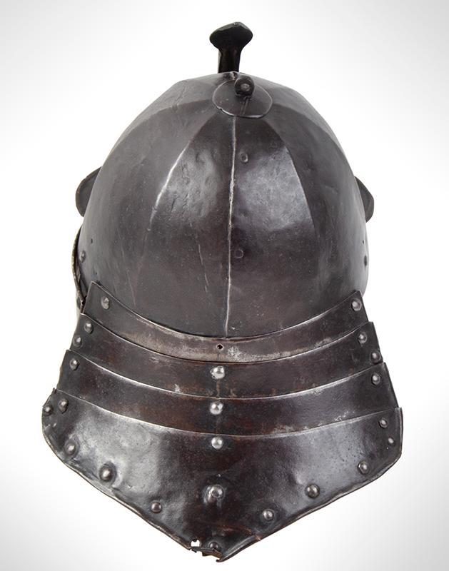 17th Century Helmet, Burgonet, Steel, Lobster Tail, Earflaps, Visor & Face Strip, entire view 1