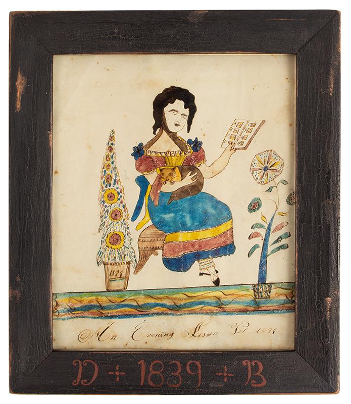 Folk Art Portrait: An Evening Lesson / Cat / 1839, entire view