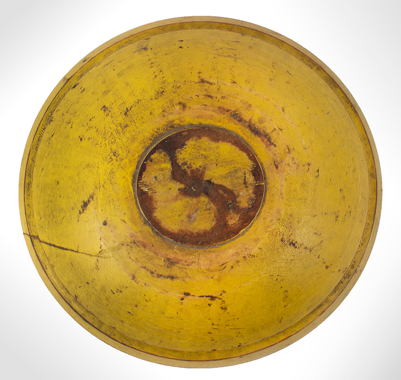 Antique Treen Bowl, Original Chrome Yellow Paint, entire view 1