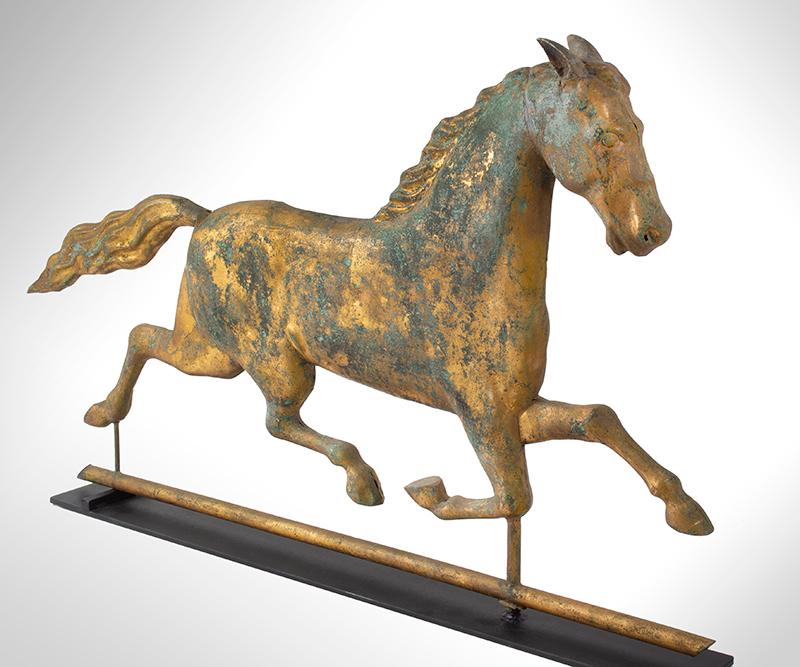 Running Horse Weathervane, Harris & Co. Gilt & Verdigris, Honest Historic Surface Boston, Massachusetts, entire view 1