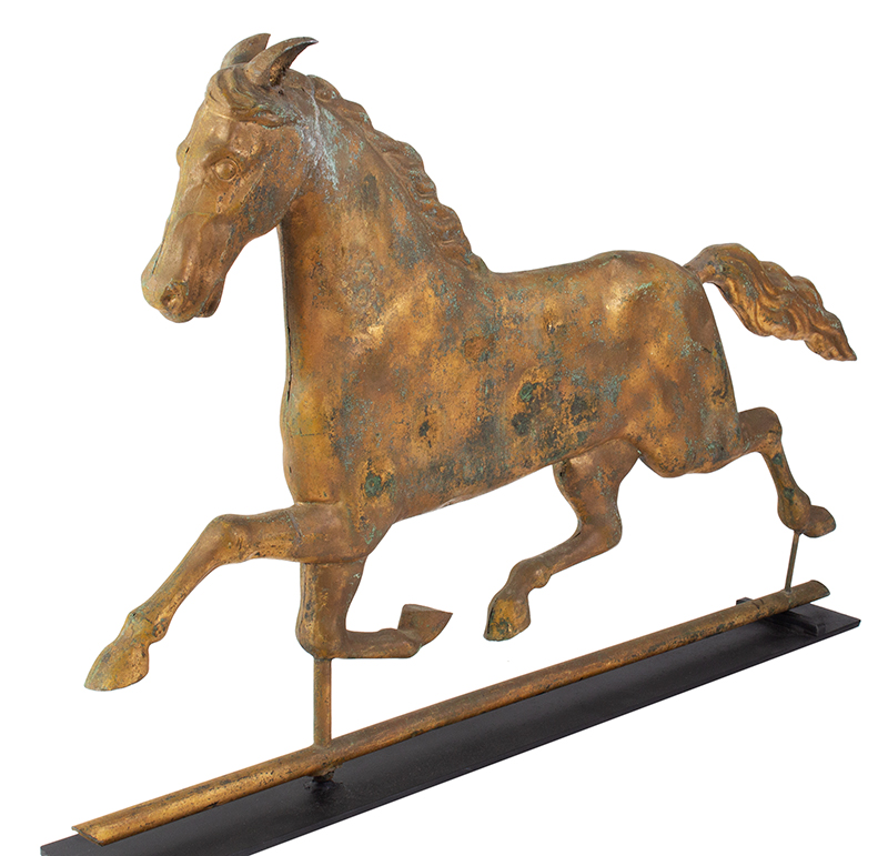 Running Horse Weathervane, Harris & Co. Gilt & Verdigris, Honest Historic Surface Boston, Massachusetts, entire view 3