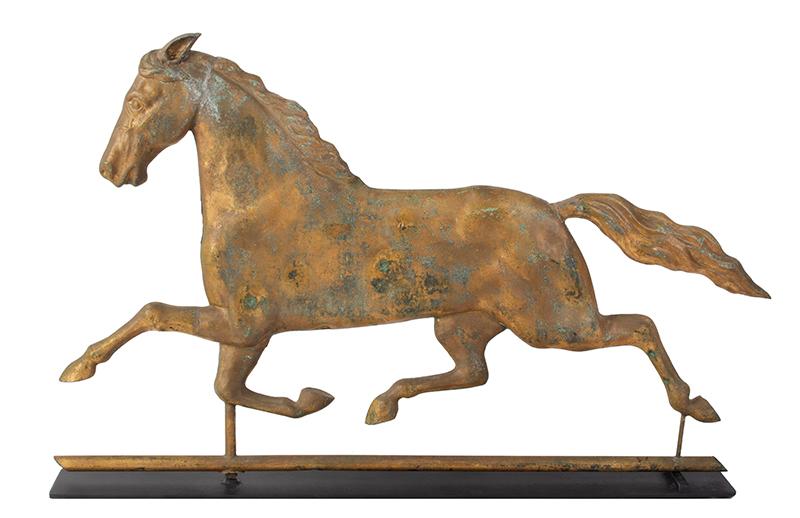 Running Horse Weathervane, Harris & Co. Gilt & Verdigris, Honest Historic Surface Boston, Massachusetts, entire view 4