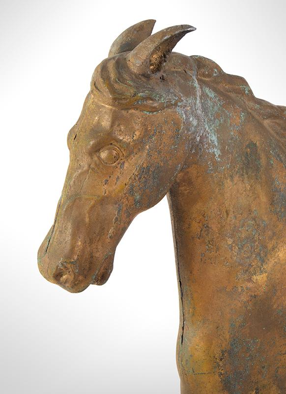 Running Horse Weathervane, Harris & Co. Gilt & Verdigris, Honest Historic Surface Boston, Massachusetts, detail view