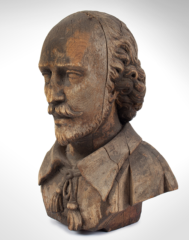 Bust of Shakespeare, Carved Wood, Possibly an Architectural Element, entire view 1