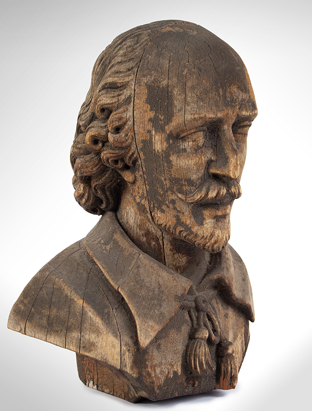 Bust of Shakespeare, Carved Wood, Possibly an Architectural Element, entire view 2
