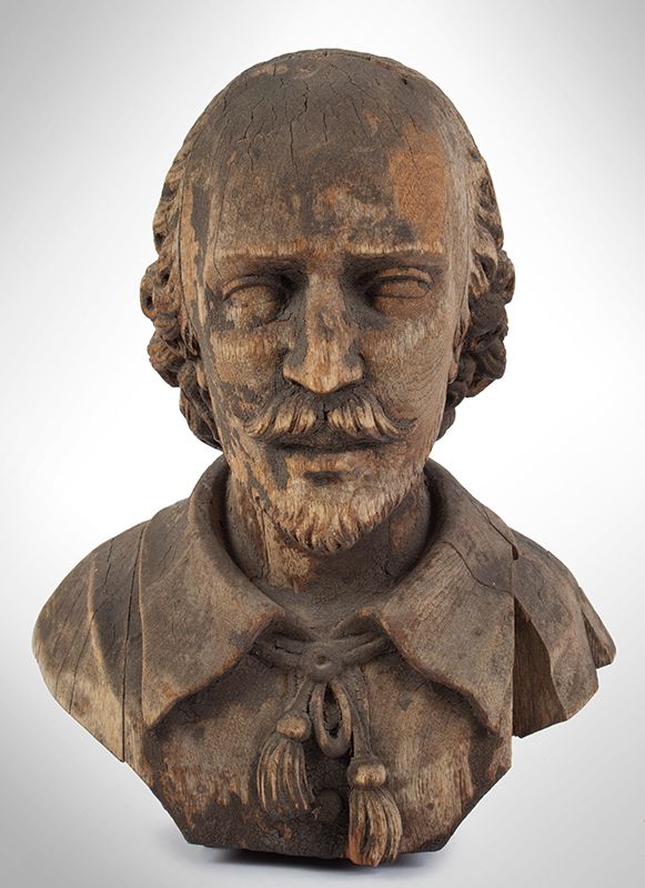 Bust of Shakespeare, Carved Wood, Possibly an Architectural Element, entire view 3