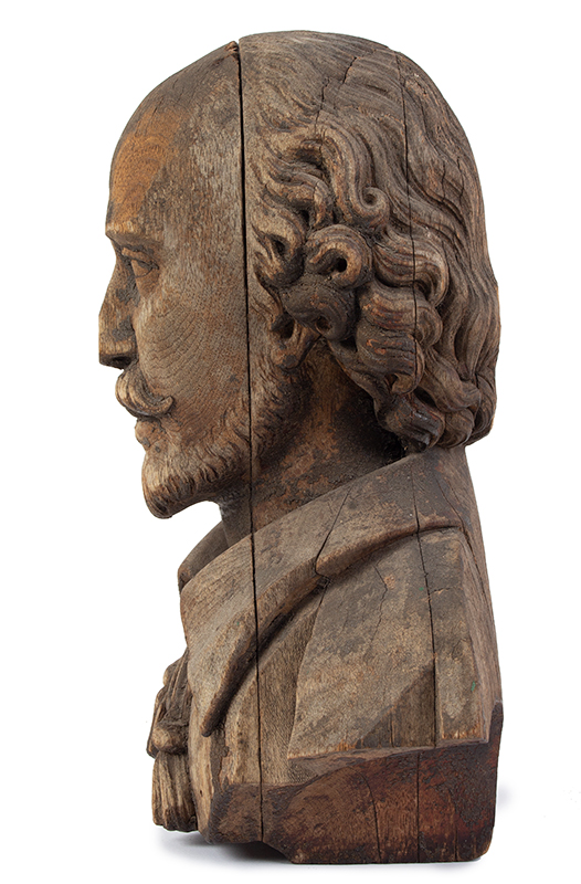 Bust of Shakespeare, Carved Wood, Possibly an Architectural Element, entire view 4