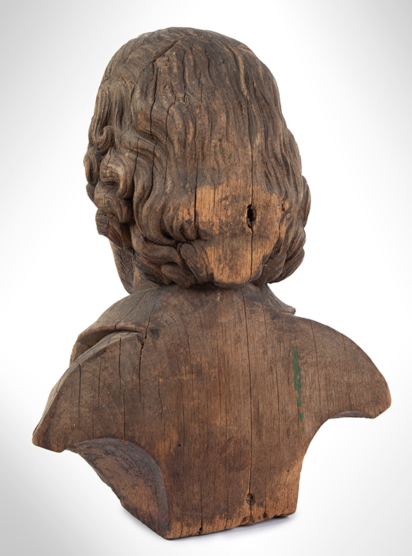 Bust of Shakespeare, Carved Wood, Possibly an Architectural Element, entire view 5
