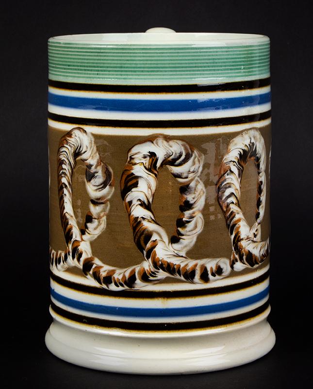Mochaware Tankard, Mug, Earthworm, Blue, Brown & Green, Engine Turned, entire view 4