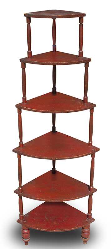 Nineteenth Century Country Etagere, Original Red Paint, Six Tiers Massachusetts, entire view 1