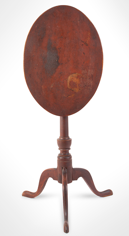 Fine Country Candlestand in Original Red Paint, Tip-Top, entire view 1