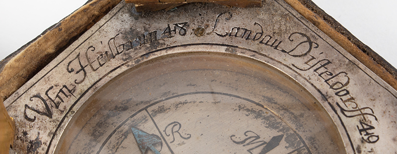 Equinoctial Compass Sundial by Johann Martin, (1642-1721) Augsburg, Germany, detail view 1