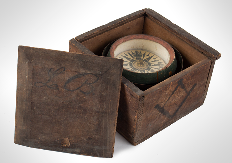 Compass from the Robert Edwards Whaleboat of New Bedford Gimbled Dry Card Ship Compass, C.R. Sherman & Co., New Bedford, entire view