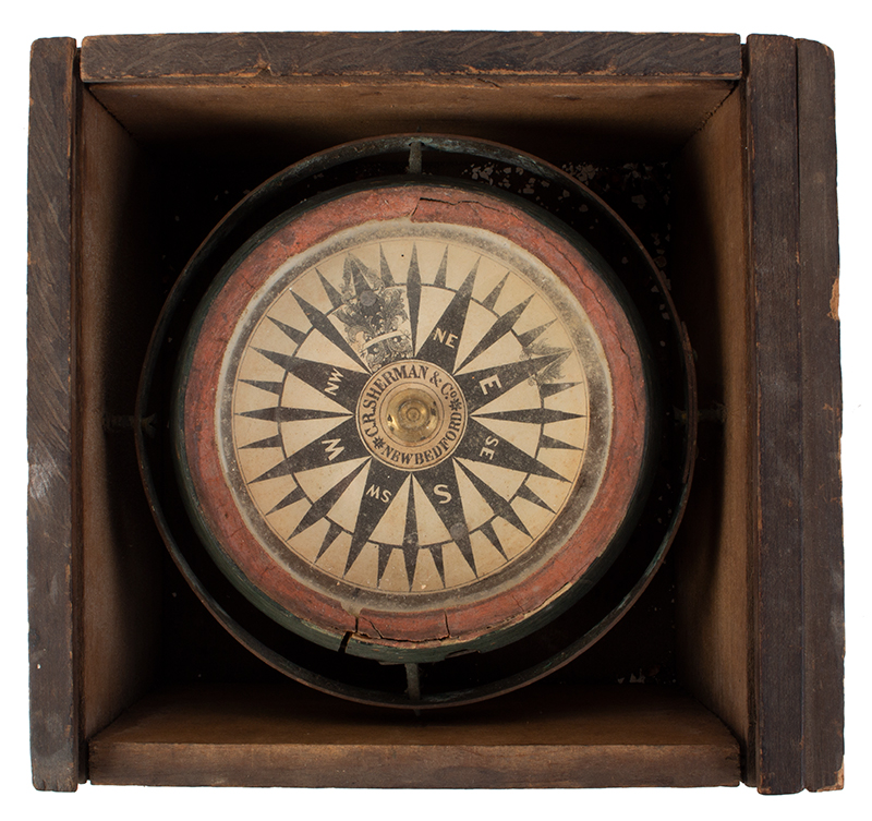 Compass from the Robert Edwards Whaleboat of New Bedford Gimbled Dry Card Ship Compass, C.R. Sherman & Co., New Bedford, entire view 2