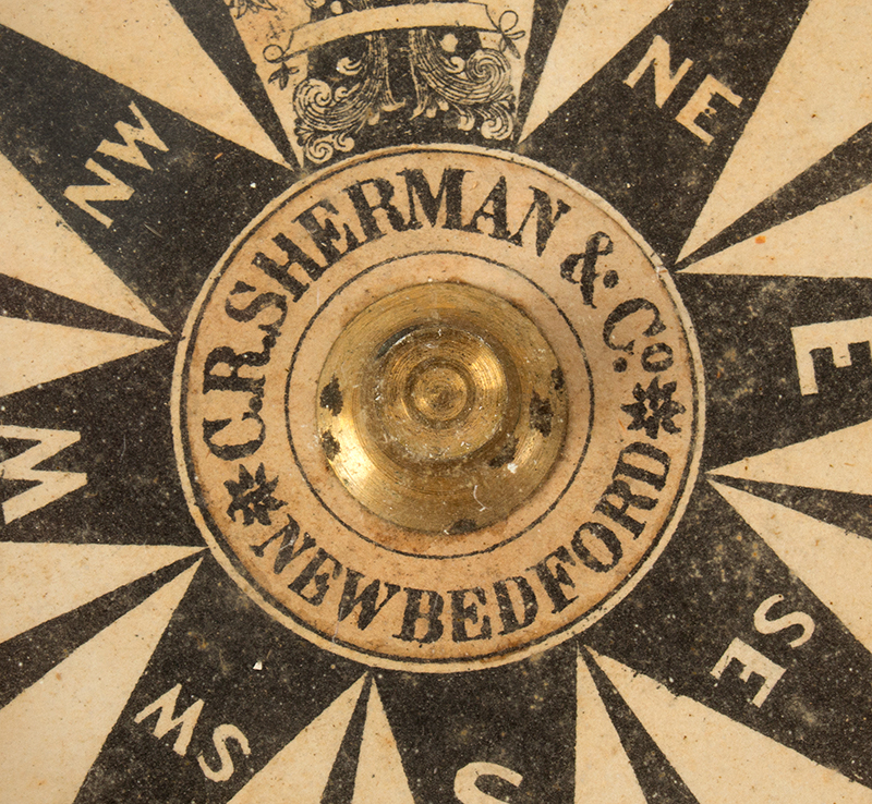Compass from the Robert Edwards Whaleboat of New Bedford Gimbled Dry Card Ship Compass, C.R. Sherman & Co., New Bedford, detail view