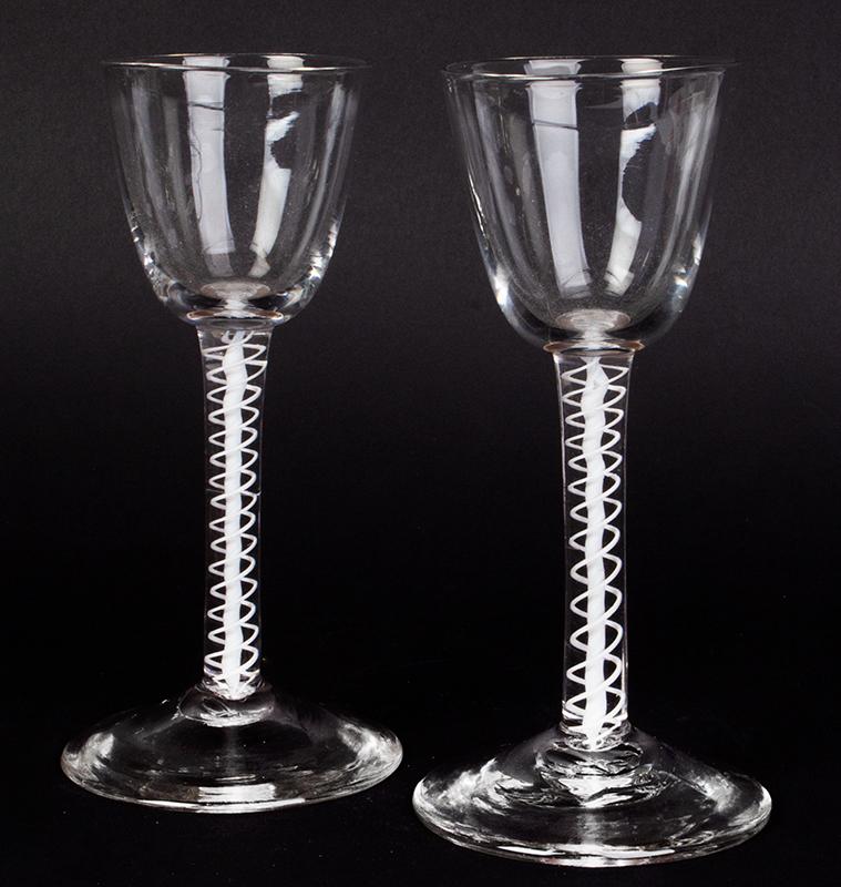 Blown Glass, Wine, White Air Twist Stem, English, entire view 1