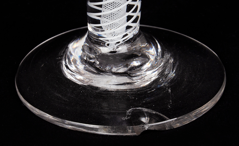 Blown Glass, Wine, White Air Twist Stem, English, detail view 2