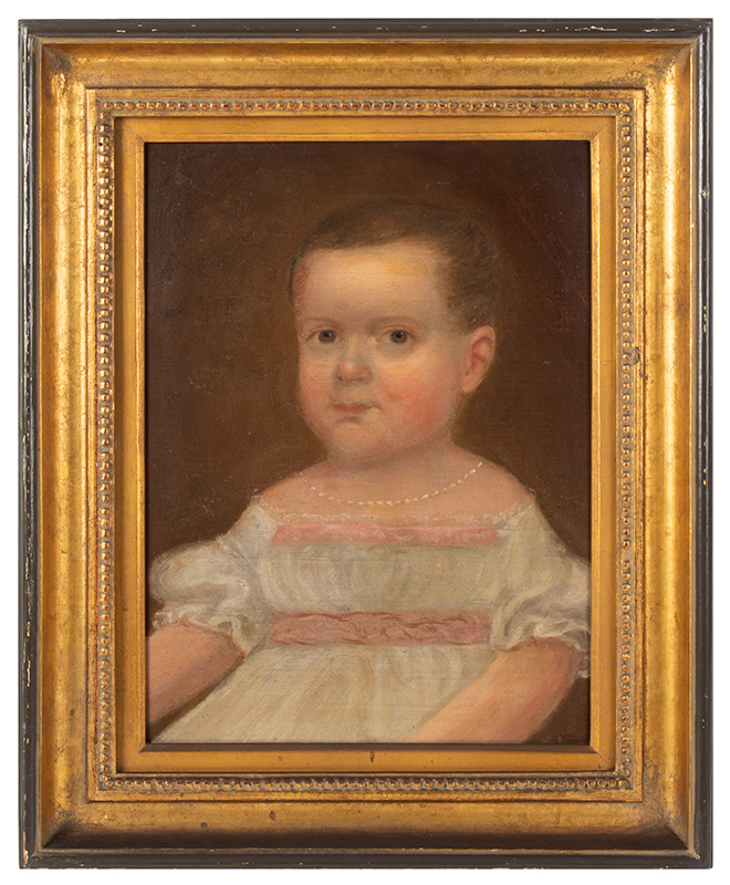 Folk Portrait of Young Girl, White Dress with Pink Trim, Necklace Possibly by Isaac Augustus Wetherby (1819-1904), entire view