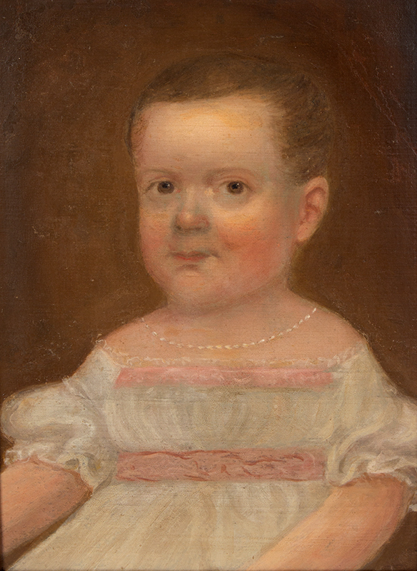 Folk Portrait of Young Girl, White Dress with Pink Trim, Necklace Possibly by Isaac Augustus Wetherby (1819-1904), detail view