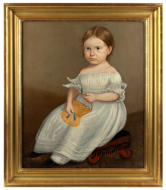 Folk Portrait, Young Girl Wearing White Dress Holding Yellow Purse, Full Length American School, Anonymous, entire view