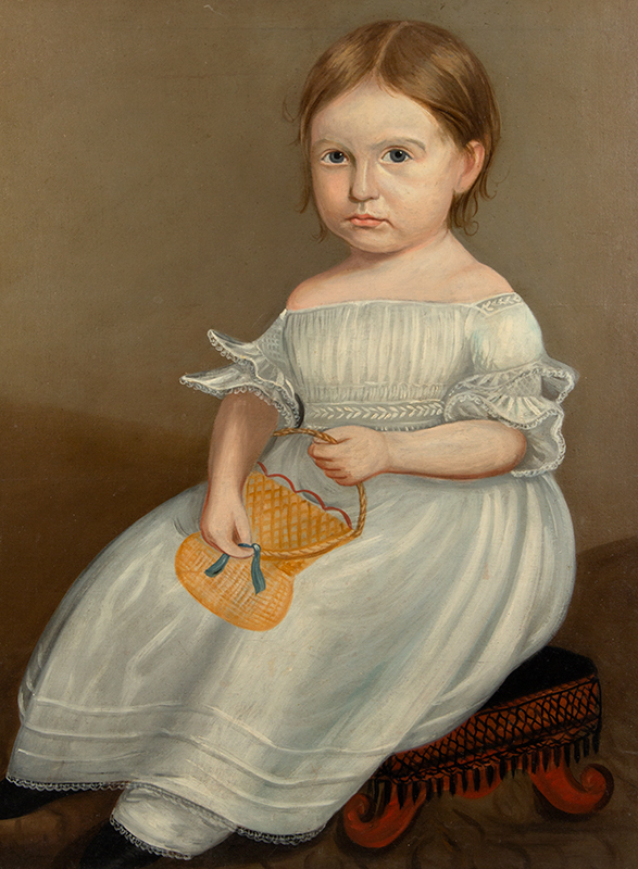 Folk Portrait, Young Girl Wearing White Dress Holding Yellow Purse, Full Length American School, Anonymous, entire view sans frame