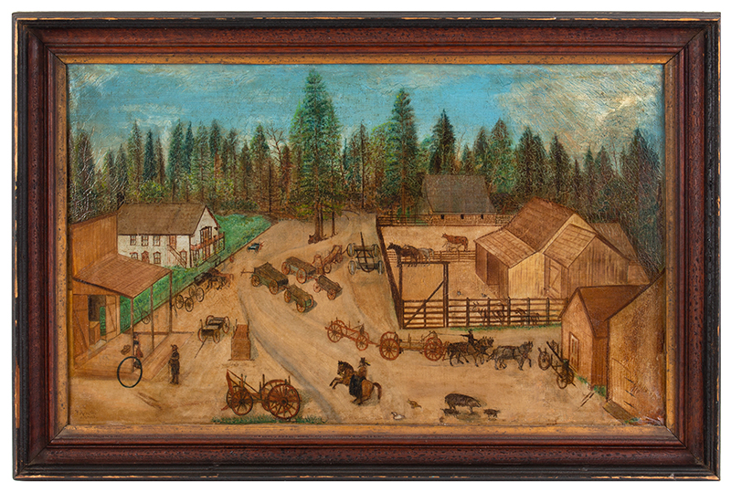 Folk Art Painting, Active Carting Scene, entire view