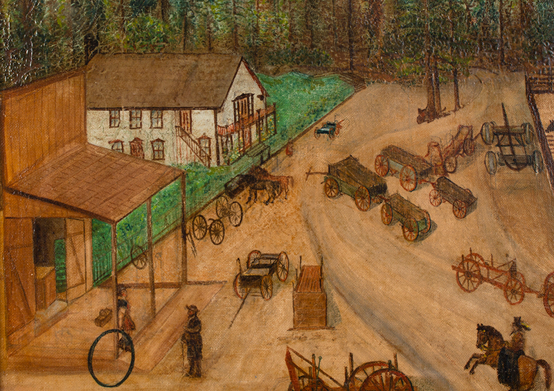 Folk Art Painting, Active Carting Scene, detail view 1
