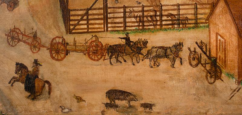 Folk Art Painting, Active Carting Scene, detail view 2