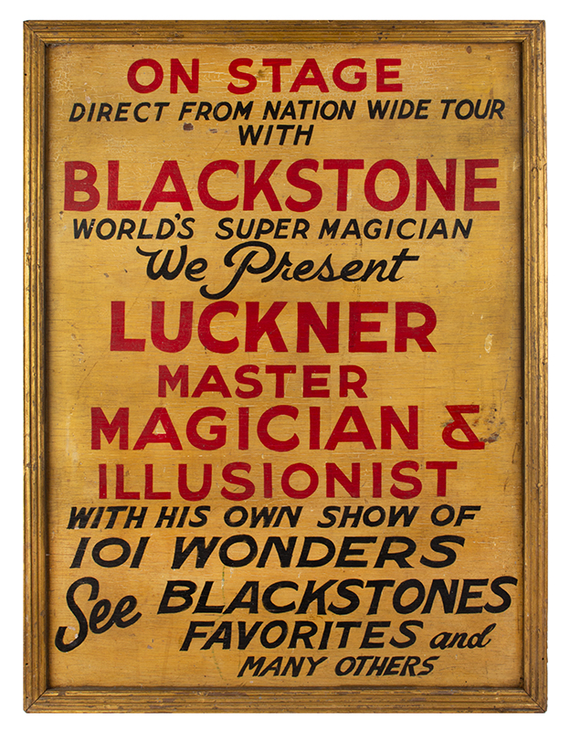 Trade Sign, Painted, Luckner / Master Magician & Illusionist, America, entire view