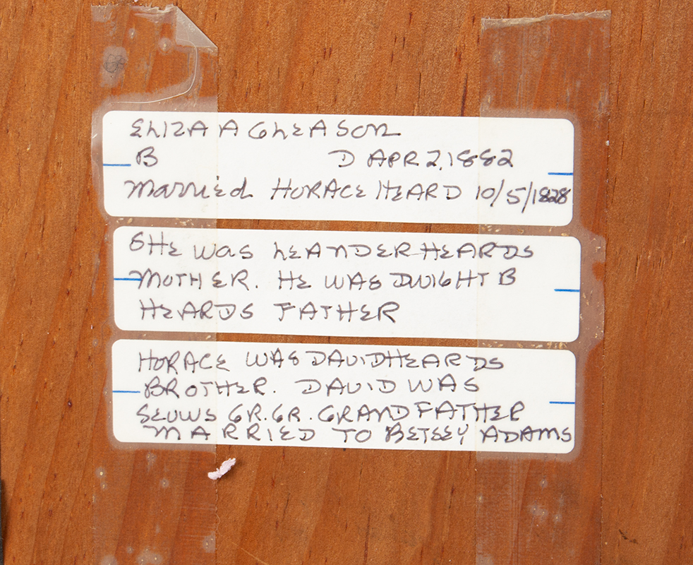 Theorem, Still Life Painting on Velvet, Original Eglomise Mat, Gold Smaltz Frame Freehand Composition Painted by Eilza A. Gleason. Perhaps a graduation piece, back detail