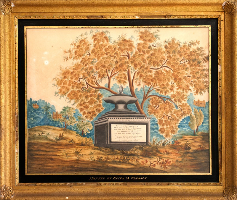 Theorem, Still Life Painting on Velvet, Original Eglomise Mat, Gold Smaltz Frame Freehand Composition Painted by Eilza A. Gleason. Perhaps a graduation piece, comp view