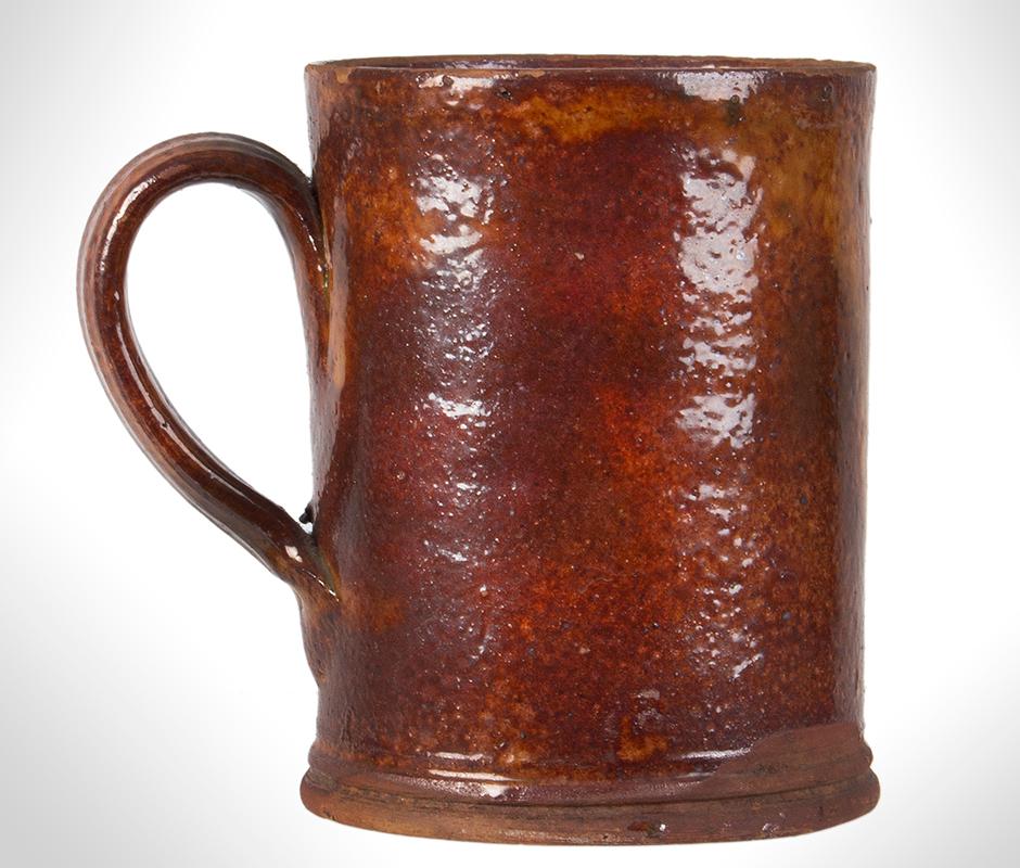Redware Mug, Possibly Bristol County, Massachusetts, Coastal, entire view 1