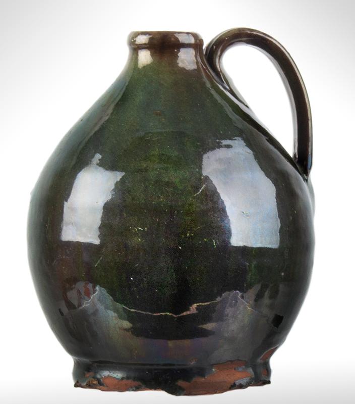 Small Redware Jug, Bristol County, Massachusetts, Green Glaze, entire view 1