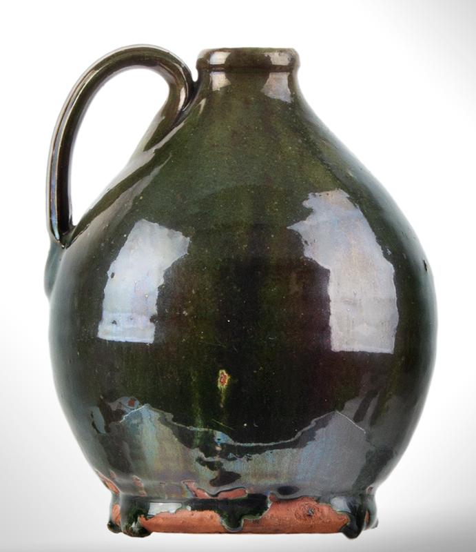 Small Redware Jug, Bristol County, Massachusetts, Green Glaze, entire view 2