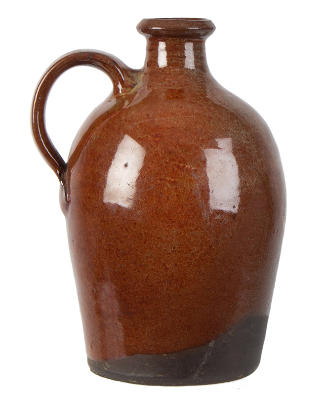 Redware Jug, Diminutive, Flared Spout, Slightly Ovoid, Maine Possibly Potter John Corliss, Days Ferry, Maine, entire view 1