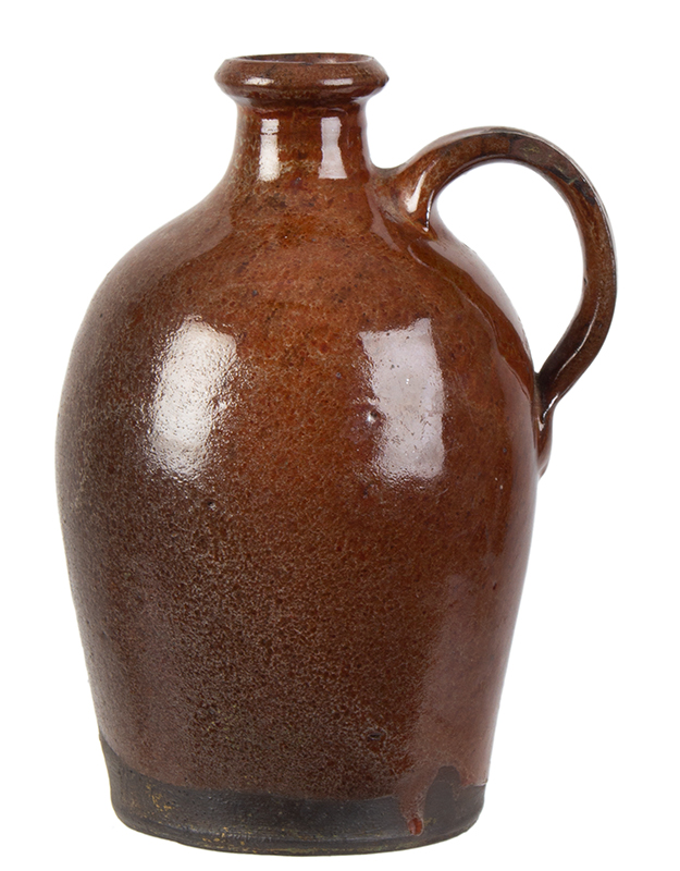 Redware Jug, Diminutive, Flared Spout, Slightly Ovoid, Maine Possibly Potter John Corliss, Days Ferry, Maine, entire view 2