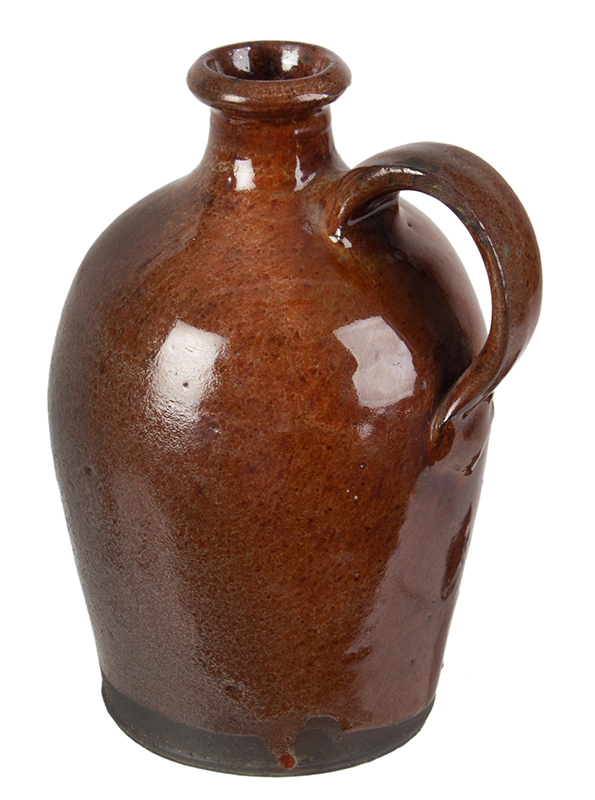 Redware Jug, Diminutive, Flared Spout, Slightly Ovoid, Maine Possibly Potter John Corliss, Days Ferry, Maine, entire view 3