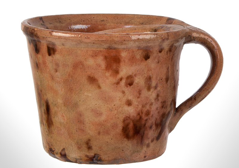Outstanding Redware Shaving Mug, Possibly the Corliss Pottery, Maine, entire view 2