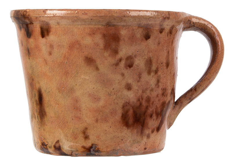 Outstanding Redware Shaving Mug, Possibly the Corliss Pottery, Maine, entire view 3