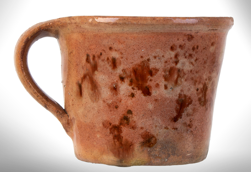 Outstanding Redware Shaving Mug, Possibly the Corliss Pottery, Maine, entire view 4