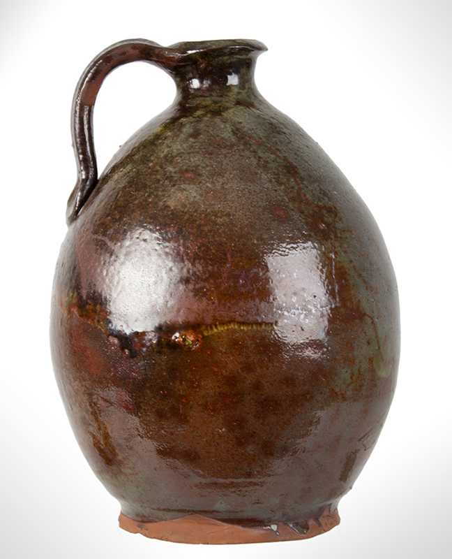 Redware Jug, Ovoid, Possibly John Corliss, Woolrich, Maine, entire view 4