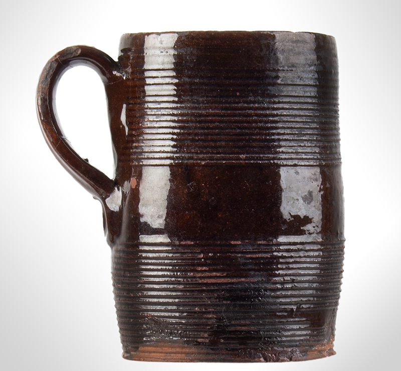 Redware Mug, Incised Concentric Rings, entire view 1