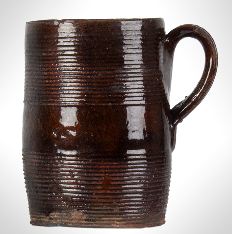 Redware Mug, Incised Concentric Rings, entire view 2