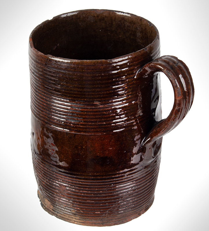Redware Mug, Incised Concentric Rings, entire view 3