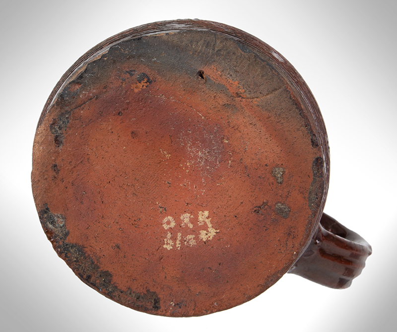 Redware Mug, Incised Concentric Rings, bottom view