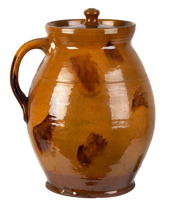 Redware Stew Pot, Lidded Jar, Pecker Pottery, Merrimackport, Massachusetts, entire view 3